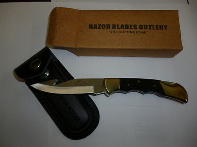 Razor Blades The Black Rabbit Guthook Pocket Hunting Camping Skinning Knife 2Nds
