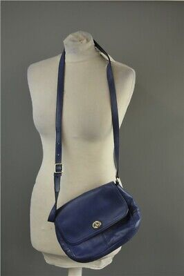 Coach Leather Shoulder Bag Blue Green Lining Adjustable Buckle Strap Twist Clasp