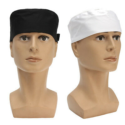 Unisex Chefs Hat Top Skull Cap Professional Catering Adjustable Breathable