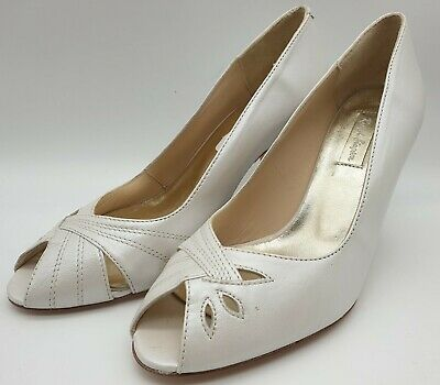 Ex-Display Rachel Simpson Nell 221 Ivory Leather Bridal Shoes Heels Size 4 EU37