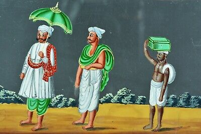 Rare tableau ancien India Company School Mica 19 thc personnages dignitaire  N°6