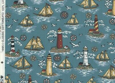 Classic Cottons Nautical Ships Seagulls Lighthouse 1995 Cotton Fabric BTY