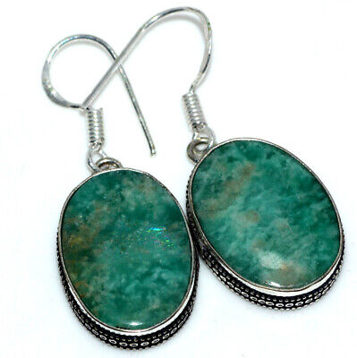 E37844 Amazonite 925 Sterling Silver Plated Earrings 1.7""