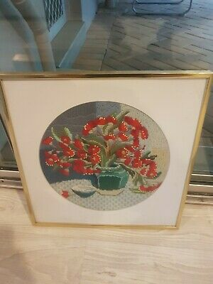 Vintage Red Flower Tapestry with Gold Frame