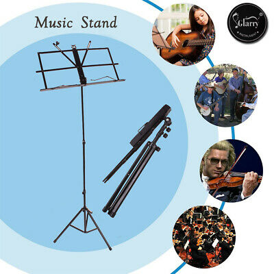 Glarry Foldable Music Stand Holder Base Tripod Orchestral Conductor Sheet w/ Bag