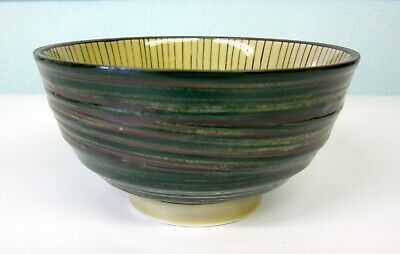 Pair of Oriental Japanese Green Tokusa Ramen Noodle Rice Soup Bowl