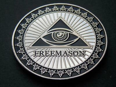 Freemason Masonic  Silver Plated Coin  All seeing Eye  Compass Square C