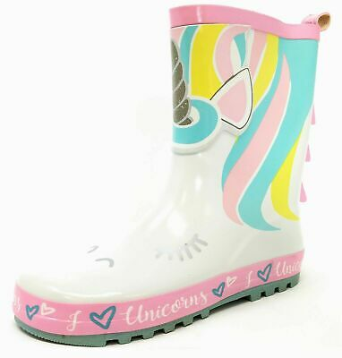Unicorn Kids Girls White Pink Wellies Wellington Rain Snow Boots Size 8-2