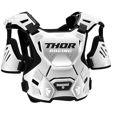 Thor Guardian Motocross Chest Protector Body Armour with Arm Guards White Adults