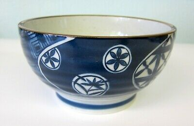 Oriental Japanese Blue and White Ramen Noodle Rice Soup Bowl