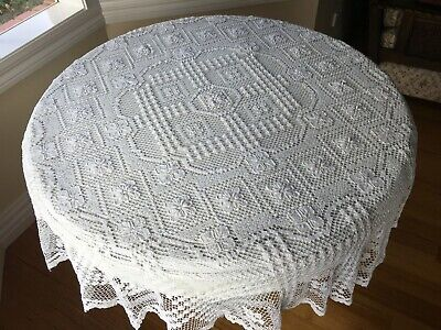 Vintage White Stunning LACE COTTON CROCHET ROUND TABLECLOTH 144cm Round