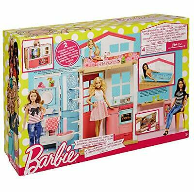 Mattel Barbie 2-Story House with Furniture & Accessories DVV47