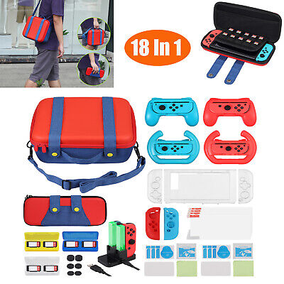 Accessories Kit Bundle for Nintendo Switch Cover Case Hand Grip Controller solid