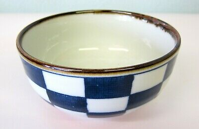 Oriental Japanese Blue and White Checked Ramen Noodle Rice Soup Bowl