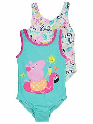George Girls Kids Official Peppa Pig Flamingo Unicorn Swimsuit 2 pack 4-5 Years