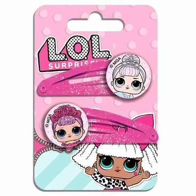 Girls Kids Official LOL Surprise Glitter Hairpins 2 Pack