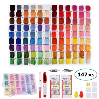 Multicolored Thread + Full Embroidery Punch Needle Knitting Sewing DIY Tool Kit