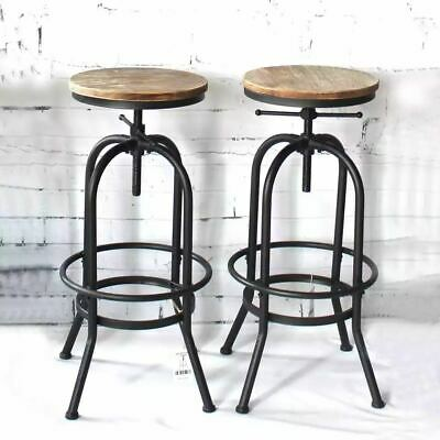 2 Vintage Round Bar Stool Metal Wood Top Home Office Restaurants Pub Chair Q0D5