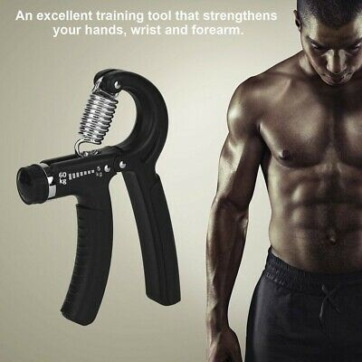 1-3x Adjustable Hand Grip 5-60KG Power Wrist Strength Forearm Training Exerciser