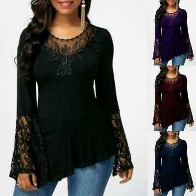 2019 AU Womens Loose Summer Long Sleeve Blouse Casual T-Shirt plus size Lace Top