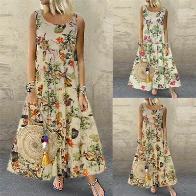Womens Summer Boho Plus Size Baggy Sundress Maxi Dress Sleeveless Floral Vintage