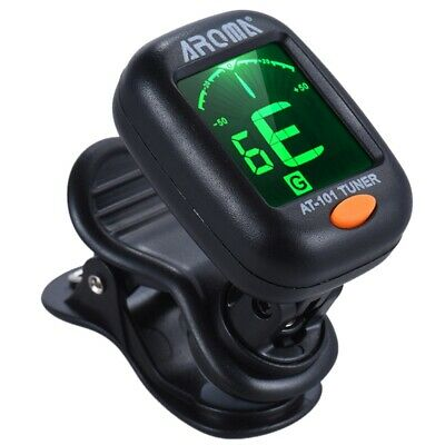 Aroma At-101 Digital Clip-On Electric Guitar Tuner Foldable Rotating Clip H D8X4