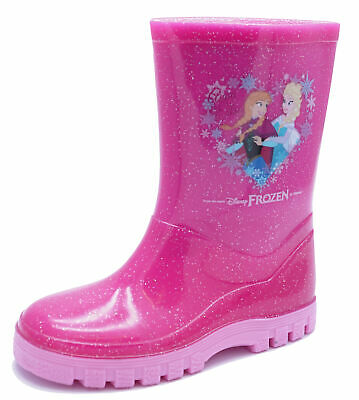 Girls Kids Pink Glitter Disney Anna Elsa Frozen Wellies Waterproof Boots Uk 6-12