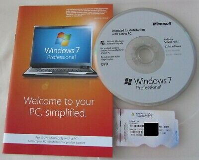 Genuine Windows 7 Professional  32-bit DVD Product Key Full OEM Version