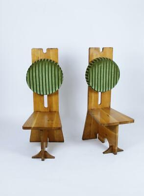 Pair of Studio Crafted Oak High Back Chairs Hungary, 1970s