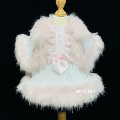 Beautiful Wee Me Baby Girl White with Pink Spanish Dress Fur Dress Fur Cape Set