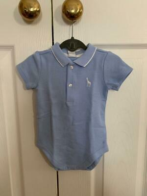 NWT $26 Janie & Jack Light Blue Embroidered Polo Bodysuit - Size 3-6 Months