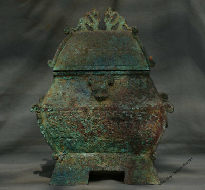 """15"""" Chinese dynasty Old antique Bronze Beast Granary Barn Storehouse Warehouse"""