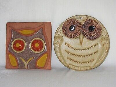 Terra Cotta Owl Tile Relief Vtg & Clay Pottery Owl Wall Hanging Decor Hand Made