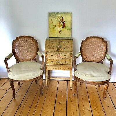 Pair Antique Louis XVI Style Bergere Chairs Continental Circa late 1800's