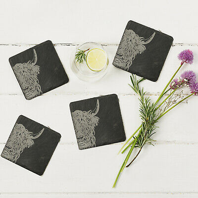 The Just Slate Company - Set of 4 Highland Cow Engraved Natural Slate Coasters