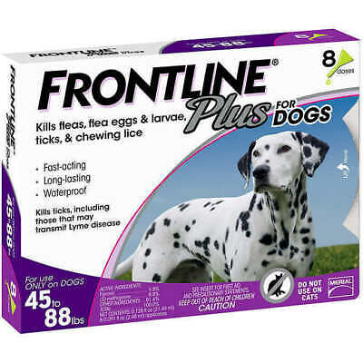 NEW Frontline Plus 45 to 88lbs Flea & Tick Control for Large Dogs 8 Doses EPA 65