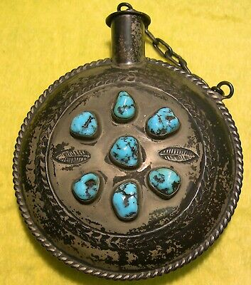 1920s or Earlier ? (hand stamped ) Navajo TOBACCO CANTEEN (perfume flask ) GREAT