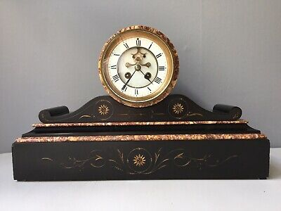 An Attractive  Slate  And Marble Drum Mantle Clock .