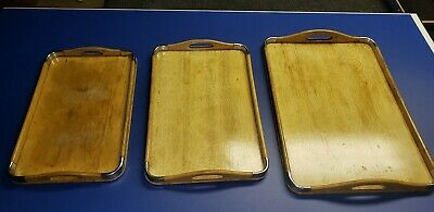 Rare Antique Vintage Japanese Light Oak Nesting Serving Trays With Handles
