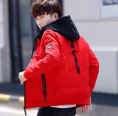 Mens Winter Warm Youth Hooded Cotton Clothes Coats Casual Slim Short Jackets