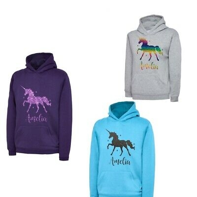 Girls Personalised Sparkle Printed Unicorn Hoodie With Stars lots of colours