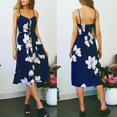 PLUS Womens Strappy Button Pocket Holiday Dress Party Beach Midi Swing Sundress