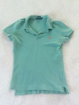 Boys Ralph Lauren Shirt Size Small Skinny Fit Short Sleeve Collar Shirt Green