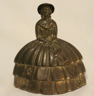 "Victorian Lady with Basket Brass Bell - missing ringer - 3.5x3.75"" Great Patina"