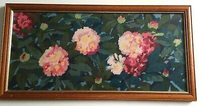 Vintage Glass Framed Completed Tapestry Canvas Bright Funky Flowers Large !