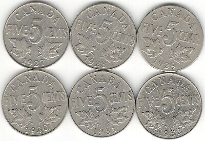 1927 1928 1929 1930 1931 1932 Five Cents F (6) NICE King George V Canada Nickels