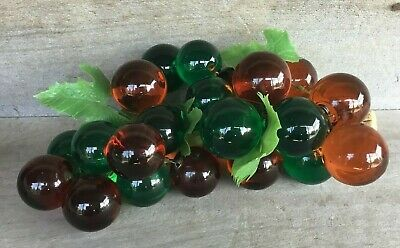 Vintage Retro Mid Century Lucite Grape Decoration green & amber