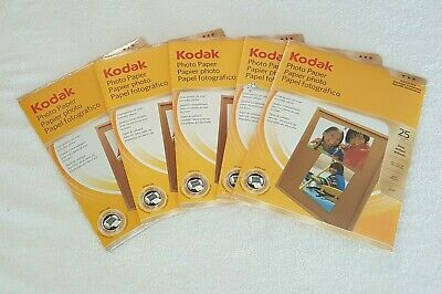 Lot Of 5 Packs Of Kodak Glossy Photo Paper, 8.5 x 11 Inches 25 Sheets Per Pack