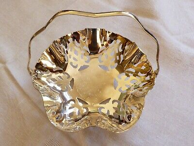 Vintage IKORA Germany Silver Plated Metal candy dish with handle footed basket