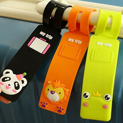 ALS_ Animal Design Silicone Luggage Tag Name Address Identifier Suitcase Label H